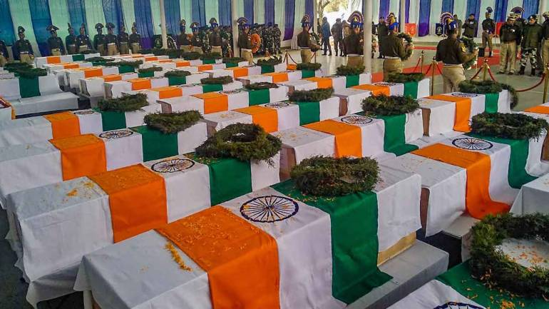 Pulwama Attack martyrs wrapped in Indian Flag