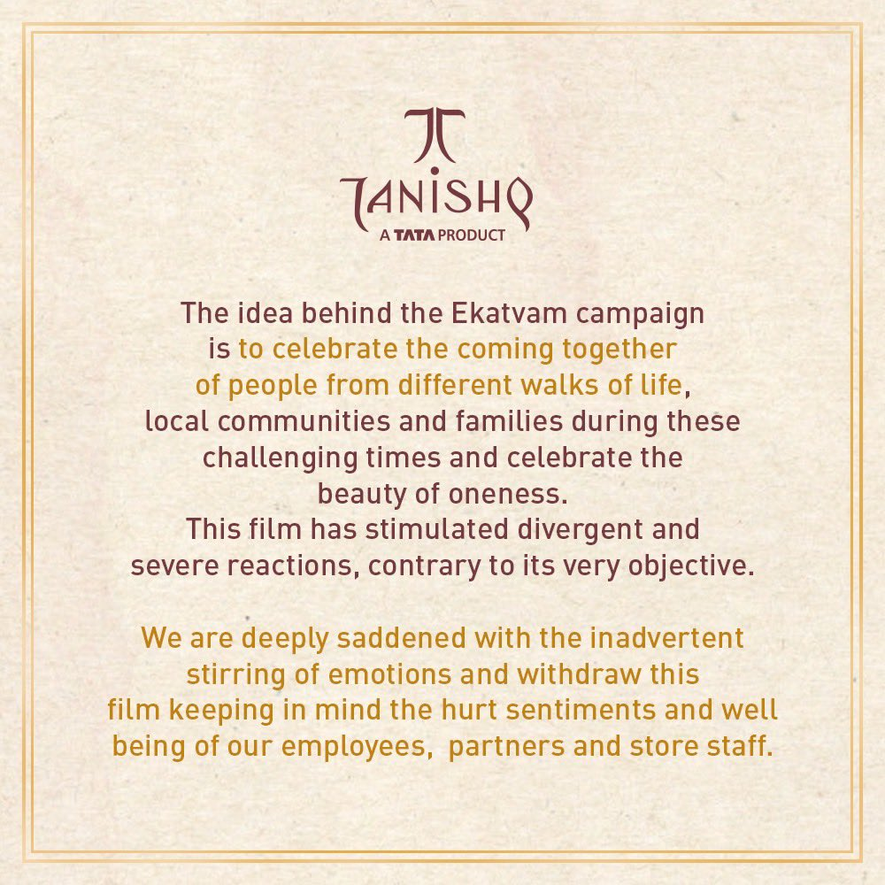 Tanishq tweeted after the controversy